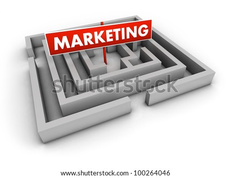 Marketing concept with labyrinth and red goal sign on white background.