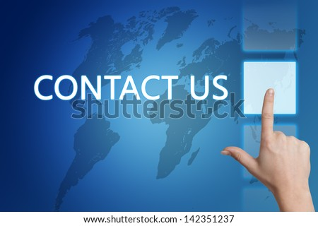 Marketing concept: words Contact us on blue background with world map.