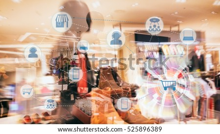 Marketing Data management platform and Omnichannel concept image. Omnichannel element icons on abstract Fashion store background.