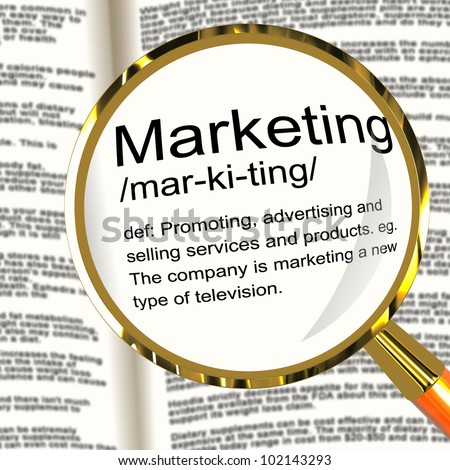 Marketing Definition Magnifier Shows Promotion Sales And Advertising