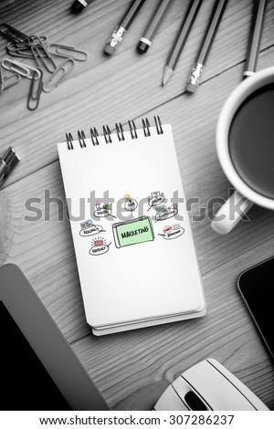 marketing doodle against notepad on desk