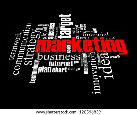 Marketing info-text graphics arrangement concept on black background - stock photo