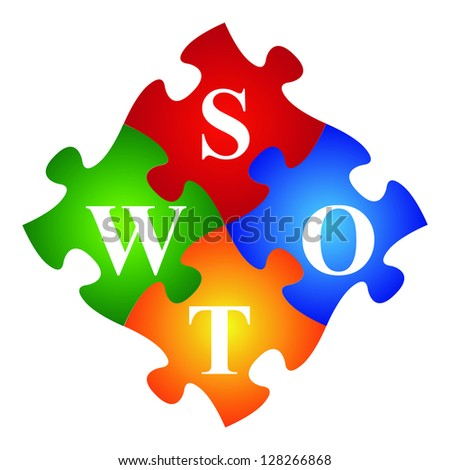 Marketing or Business Concept Present By Four Pieces of Colorful SWOT Puzzle Isolated on White Background