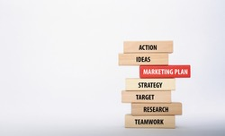 MARKETING PLAN concept with Wooden Blocks