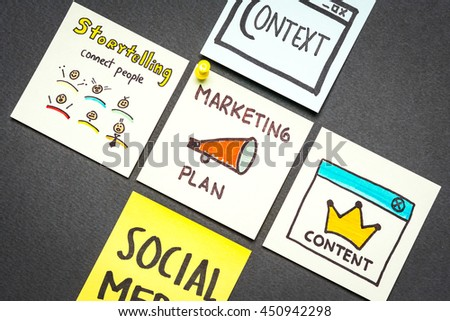Marketing plan, context, content, storytelling and social media paper notes concept on gray background. Native advertising concept.