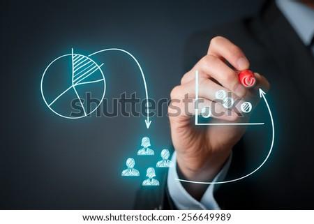 Marketing positioning and marketing strategy - segmentation, targeting, and positioning. Visualization of marketing marketing positioning.  Stock foto ©