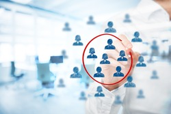 Marketing segmentation, management, target market, target audience, customers care, customer relationship management (CRM), human resources recruit and customer analysis concepts.