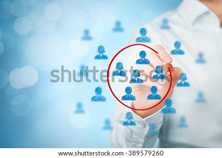 Marketing segmentation, target market, target audience, customers care, customer relationship management (CRM), human resources recruit and customer analysis concepts, bokeh in background.