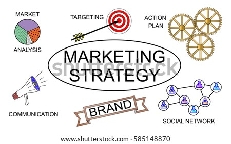Marketing strategy concept on white background