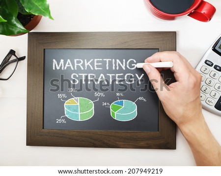Marketing strategy sketched on a little black chalkboard #207949219