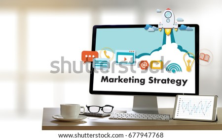 Marketing Strategy technology business man working on laptop computer DIGITAL MARKETING concept