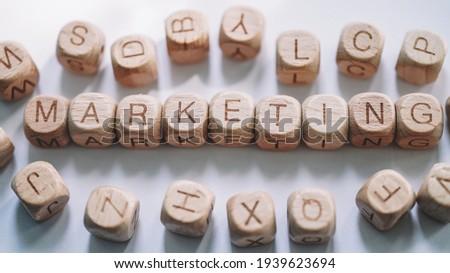Marketing word concept. Worden Blocks  close up view Stockfoto ©