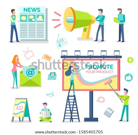 Marketologists, print adverts and outdoor advertising isolated objects raster. Newspaper and megaphone, newsletter and roadside billboard, street banners