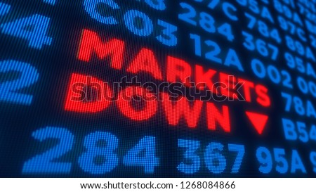 Markets down and stock crisis concept. Economy crash and recession 3D illustration. Screen pixel style.
