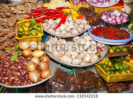 markets ho chi minh saigon south vietnam howing typical vietnamese food staples