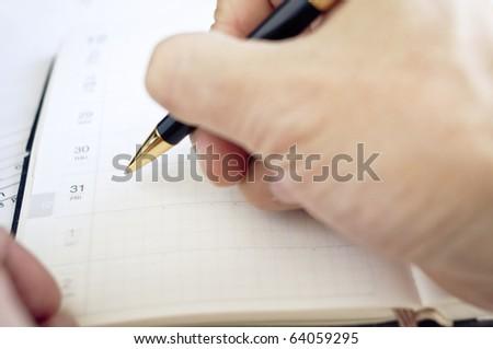 Marking calendar in organizer