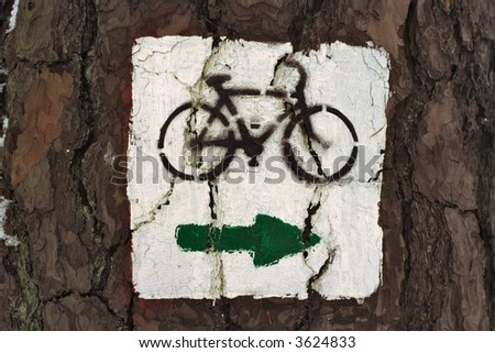 Marking paint of the touristic bike trail.
