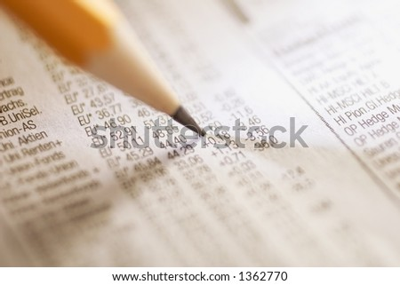 marking stock index in a news paper