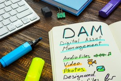 Marks about DAM digital asset management in the note.