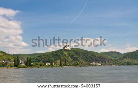 Marksburg in rhine valley on wonderful sunny weather