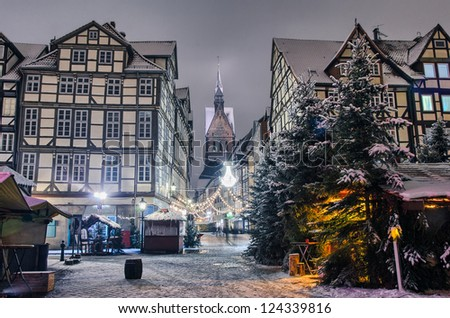 Marktkirche and old city of Hannover, Germany in the winter