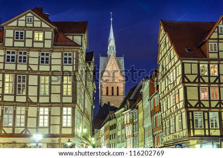 Marktkirche (Marketplace Church) and old half-timbered houses of Hannover, Germany - stock photo