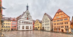 Marktplatz - the main square of Rothenburg ob der Tauber with HDR effect, Bavaria, Germany