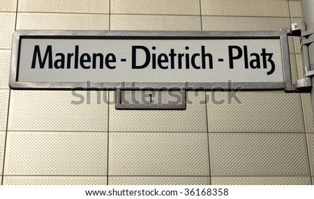 Marlene Dietrich Platz sign in Berlin, Germany