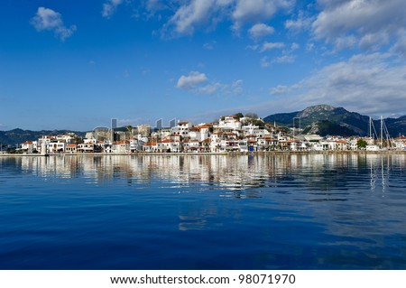 Marmaris city and fortress view from sea