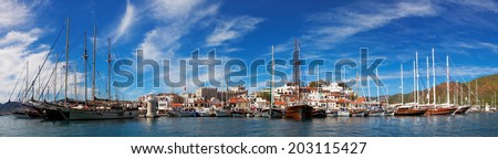 Marmaris city with fortress and marina, view from sea, Turkey, Europe