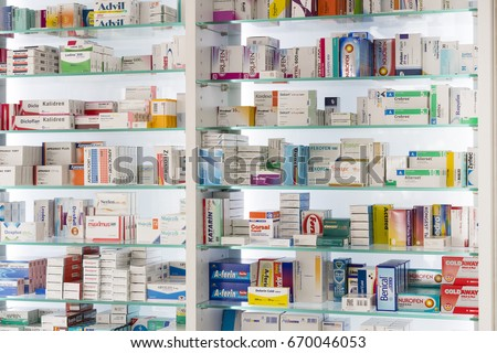 MARMARIS, TURKEY - 1 MAY , 2017: Pharmacy cabinets with medicines and drugs tablets and food additives  #670046053