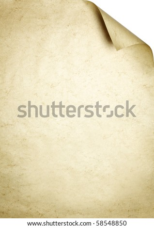 Marmorate brown sheet of paper as writing background with dog-ear.