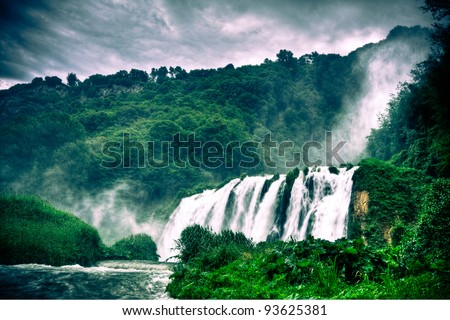Marmore waterfalls (Cascate delle Marmore), Umbria, Italy - stock photo