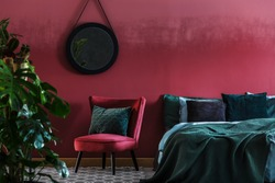 Maroon bedroom interior with plant, red armchair and king-size bed