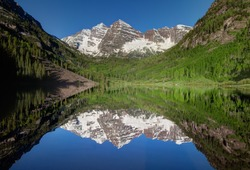 Maroon Bells and Aspen Trees Reflected in Maroon Lake