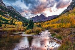 Maroon bells at autumn season in in Aspen Colorado, USA.
