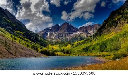 Maroon Bells from Maroon Bells lake in Colorado
