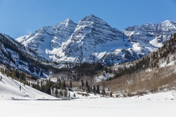 Maroon Bells in Winter, Aspen Colorado on a Bluebird Sky Day