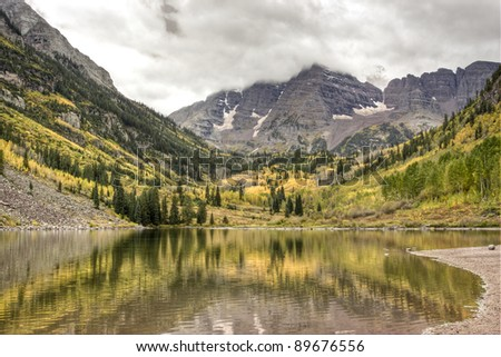 Maroon Bells on a cloudy day. Colorado, USA