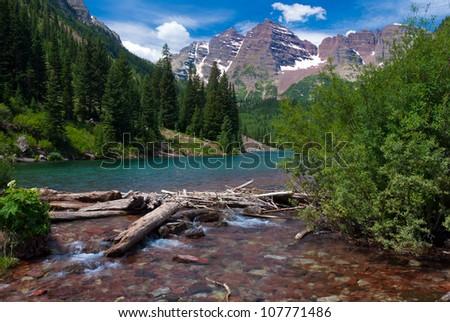 Maroon Bells Peaks at Maroon Lake with logs, Summer 2012