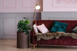 Maroon sofa with pillows, lamp, wicker planters for flowers in the interior. Living room or office for receiving guests and clients. Psychologist's office. Space for relaxation and reading.