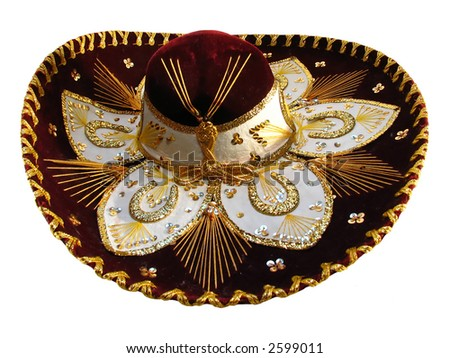 Maroon sombrero isolated on the white background