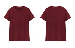 Maroon  T-shirts front and back on white background. Red T-shirts