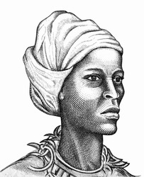 Maroons (Queen Nanny; Granny Nanny), a National Hero of Jamaica Portrait from Jamaican Banknotes.