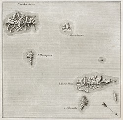 Marquesas islands old map. By unidentified author, published on Magasin Pittoresque, Paris, 1843