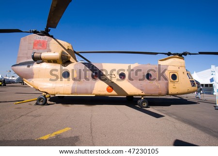 MARRAKECH, MOROCCO - JANUARY 30: MOROCCAN CH-47 CHINOOK at Marrakech Air Expo January 30, 2010 in Marrakech, Morocco.