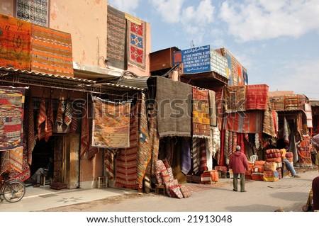 MARRAKECH - 21 NOVEMBER 2008: Carpets for sale in Marrakech, Morocco
