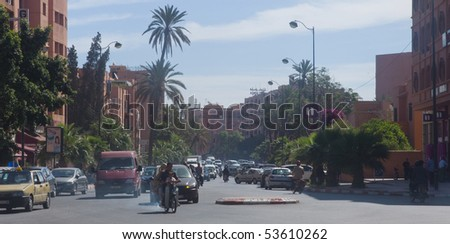 MARRAKESH - APRIL 19: Street in the centre of the city Marrakesh with smog April 19, 2010 in Marrakesh, Morocco.