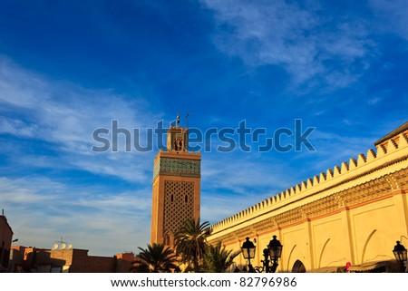 Marrakesh, Morocco:  Exterior mosque wall and minaret Marrakesh, Morocco.