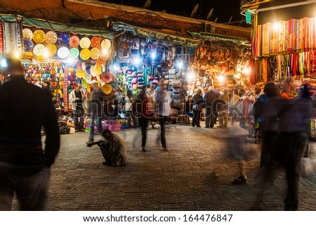 MARRAKESH, MOROCCO - NOVEMBER 15: market stalls in the medina at night on November 15, 2013 in Marrakesh. Originally market in the medina of Marrakesh that is listed under UNESCO world heritage sites.